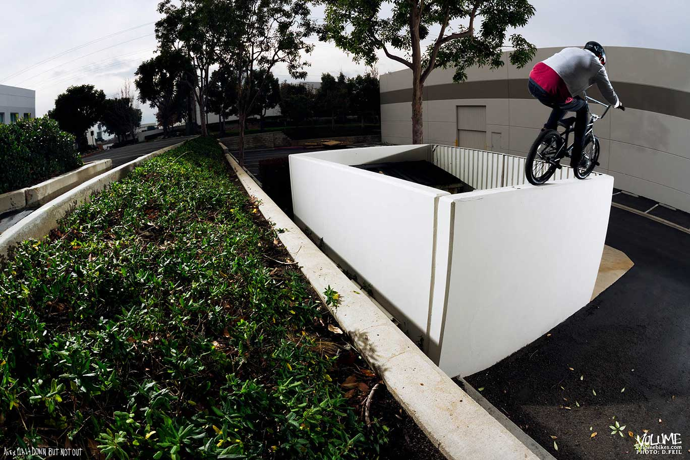 Alex Platt Down but not out: Gap to tire ride.  Photo courtesy of Devin Feil for DIG bmx